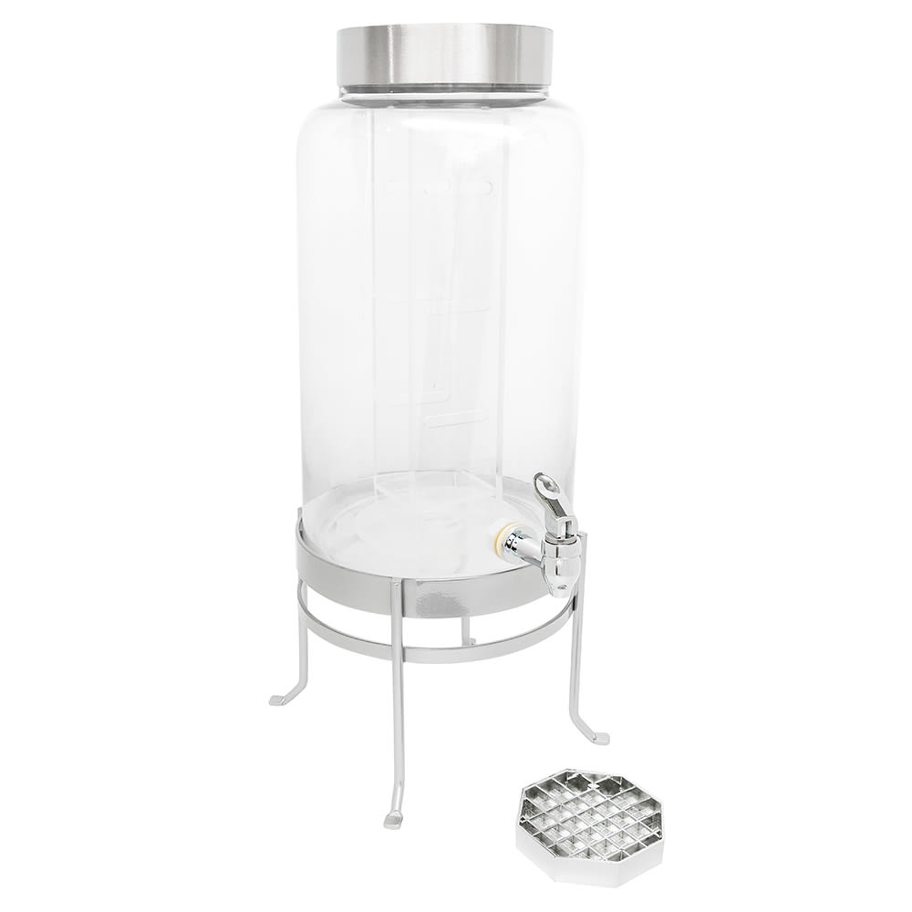 Cal-Mil 1580-3INF-74 3 gal Beverage Dispenser w/ Infusion Chamber - Glass w/ Silver Base