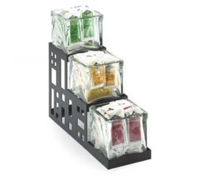 """Cal-Mil 1604-13 3-Step Squared Jar Display w/ Jars, 4 x 12 x 10.5"""", Black"""