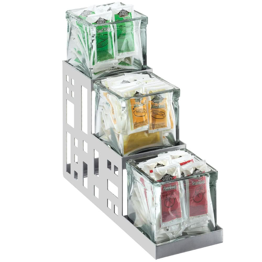"Cal-Mil 1604-55 3-Tier Condiment Jar Riser Set w/ (3) 4"" x 4"" Jars, Stainless Steel"