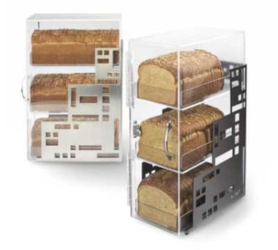 """Cal-Mil 1614-55 3 Tiered Squared Bread Case, 7 x 12 x 20"""", Stainless"""