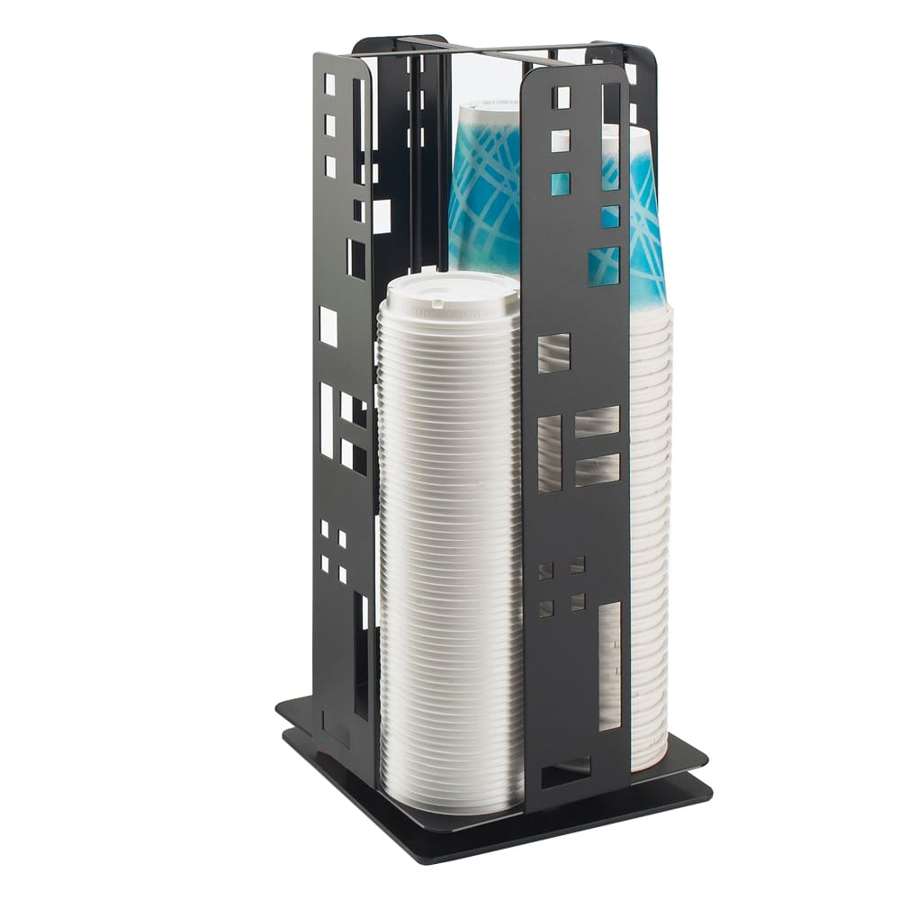 "Cal-Mil 1615-13 Squared Revolving Cup & Lid Dispenser, 8.25 x 8.25 x 18.25"", Black"