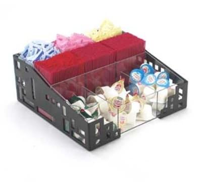 "Cal-Mil 1616-13 Squared Condiment Organizer, 12 x 12 x 5.25"", Black"