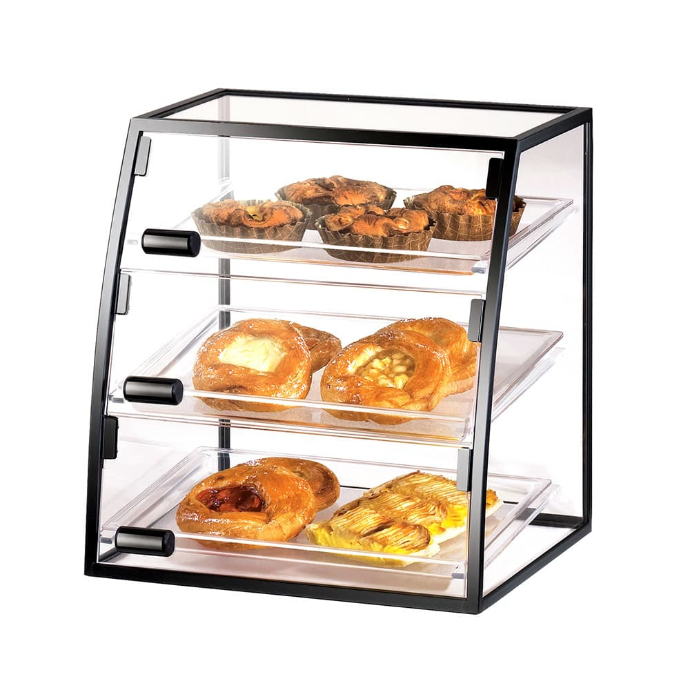 "Cal-Mil 17081014 16"" Self-Serve Cabinet w/ Iron Frame & (3) 10 x 14"" Trays"