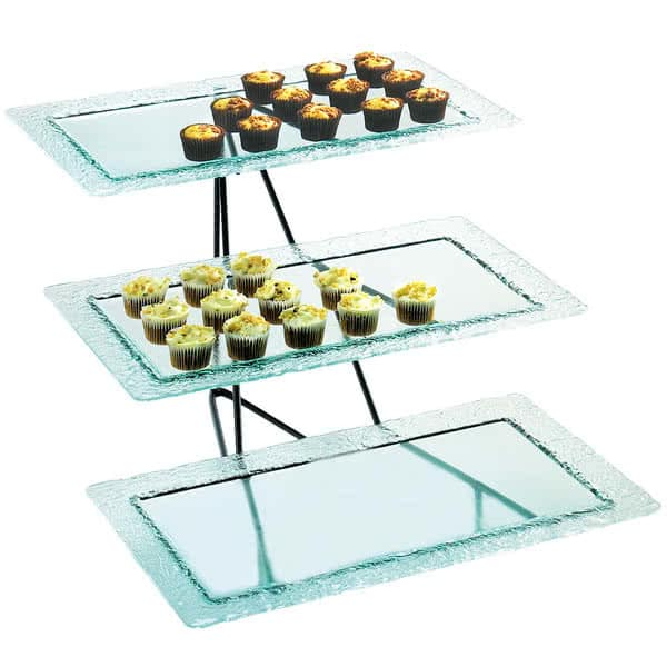 "Cal-Mil 1710-13 3 Tier Display Stand w/ Faux Glass Trays - 24.75""W x 20.75""D x 15.25""H, Metal, Black"
