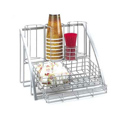 Cal-Mil 1715-39 Beverage Caddy For Cups, Lids, Straws, Creamers & Packets, Silver