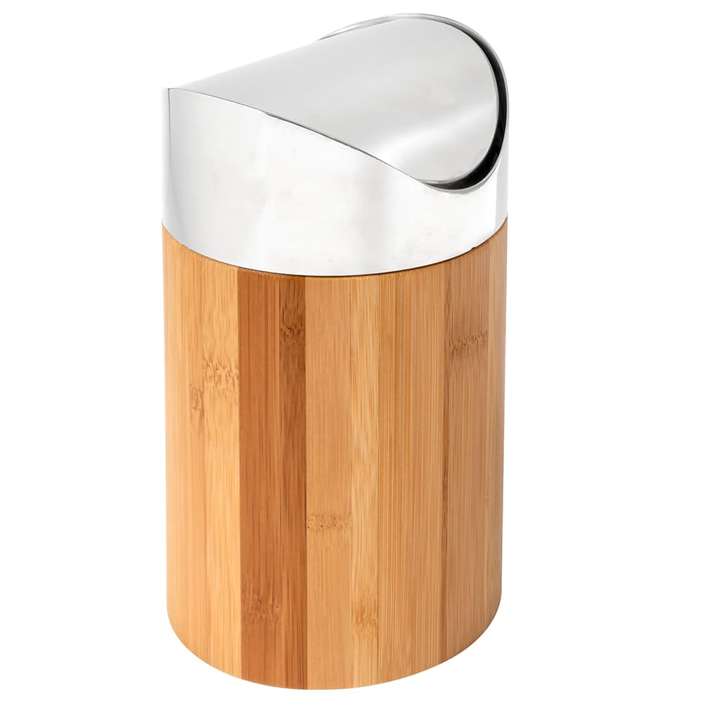 "Cal-Mil 1717-60 Countertop Trash Can w/ Bamboo Body & Stainless Top, 5 x 7"" High"