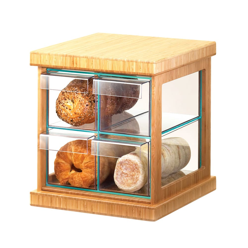 Cal-Mil 1718-60 4 Drawer Bread Case w/ Bamboo Frame & Green Glass, Acrylic Body