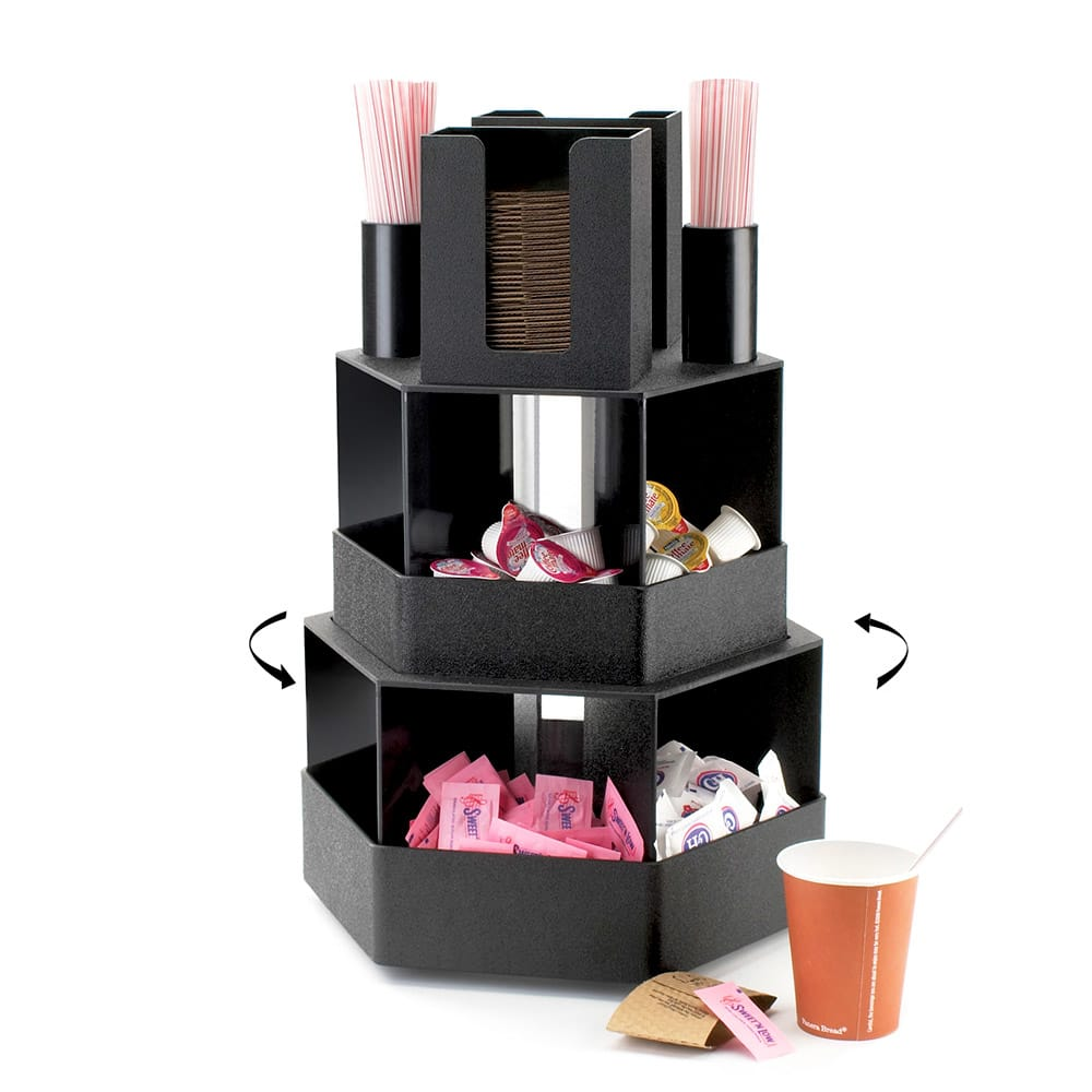 Cal-Mil 1719 3 Tier Revolving Condiment Display w/ Bins, ABS