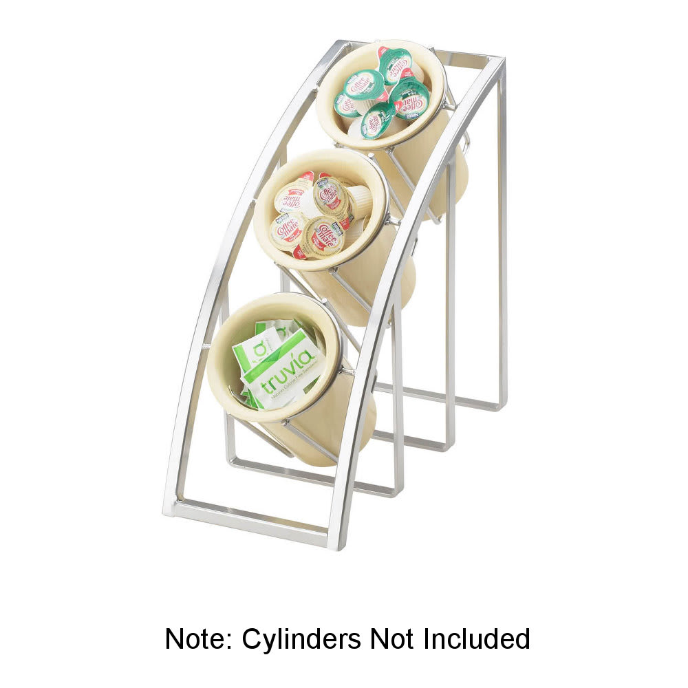 "Cal-Mil 1747-3-39 13"" 3 Section Cylinder Display - Metal, Silver"