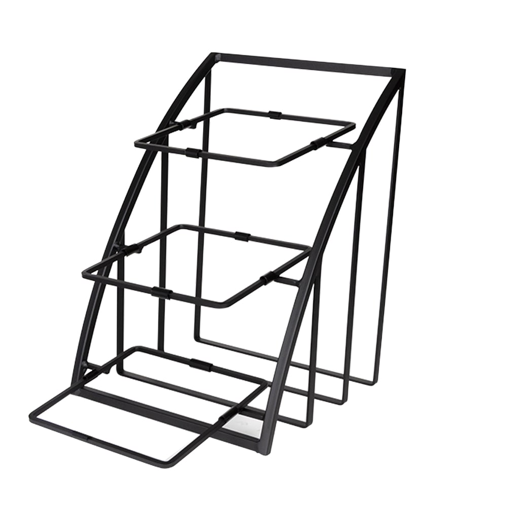 "Cal-Mil 1750-13 3 Tier Display Stand for Square Bowls - 12""W x 19""D x 13.5""H, Metal, Black"