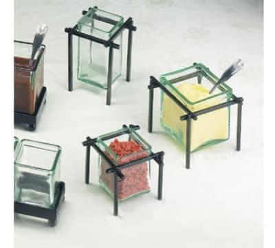 Cal-Mil 1801-4-13 Single Unit Coffee Amenities Holder w/ Square Green Glass Jar