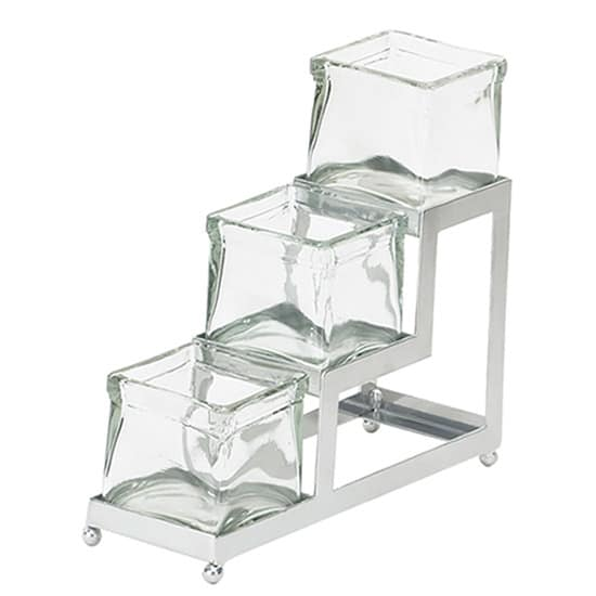 Cal-Mil 1803-4-49 3 Step Coffee Amenities Holder w/ Square Green Glass Jars, Chrome