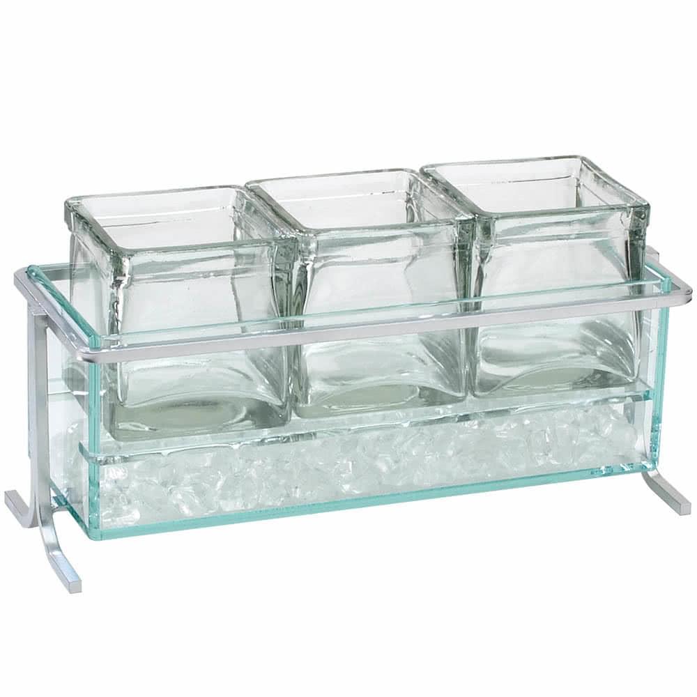 "Cal-Mil 1806-5-39 Iced Condiment Jar Riser Set w/ (3) 4"" x 4"" Jars - Iron, Silver"