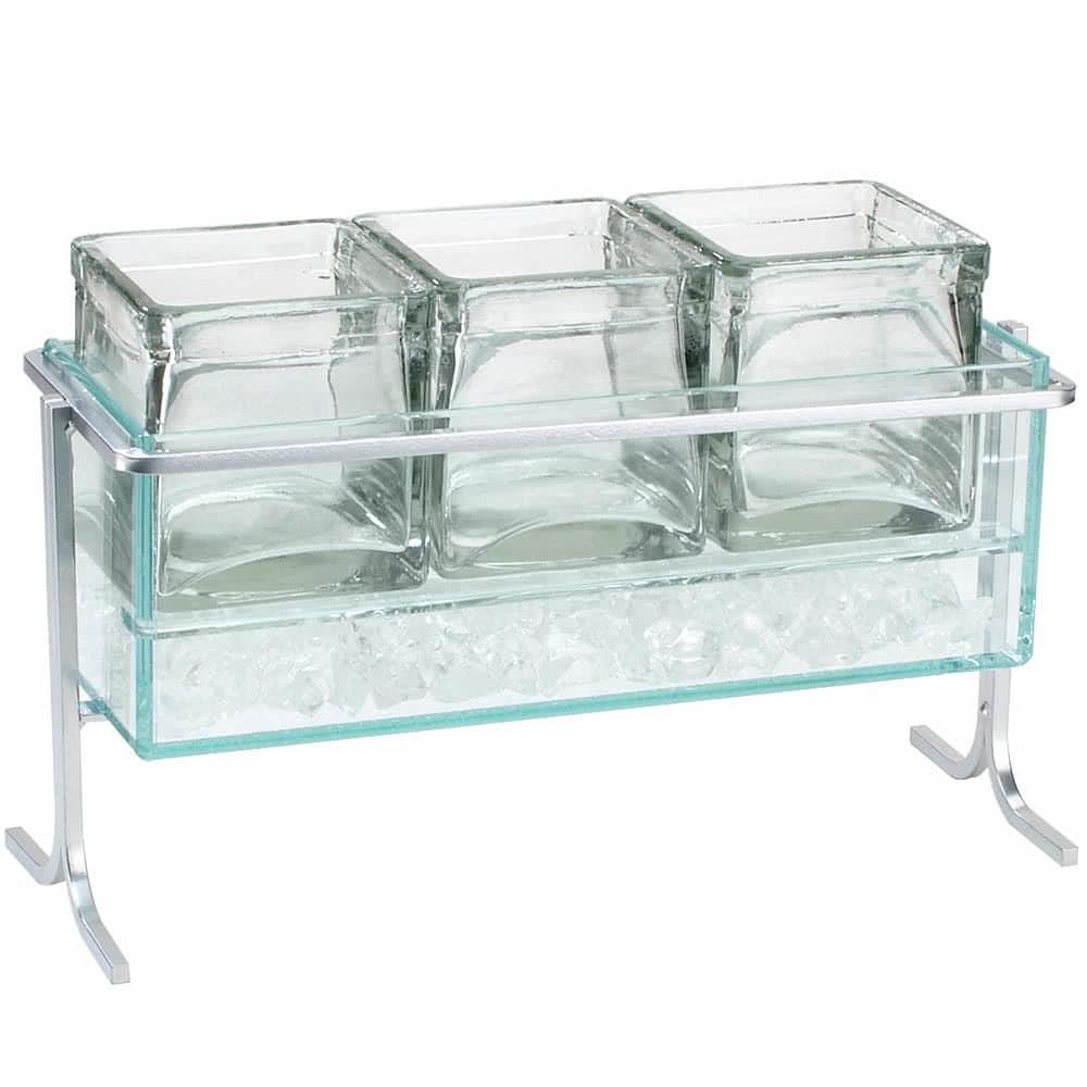 "Cal-Mil 1806-7-39 Iced Condiment Jar Riser Set w/ (3) 4"" x 4"" Jars - Iron, Silver"