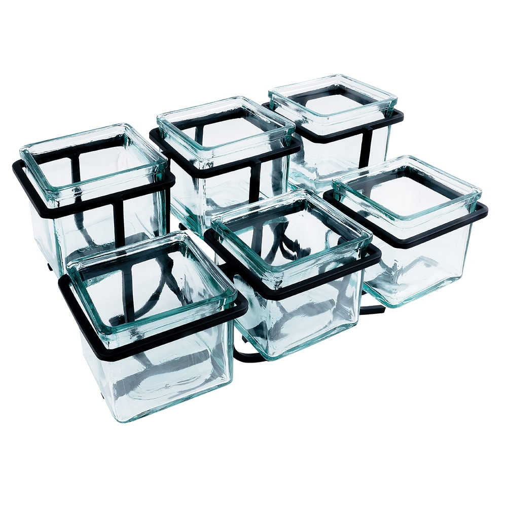 Cal-Mil 1809-13 In-Line Iron Jar Frame w/ 2-Tiers, Holds 6 Jars, Black