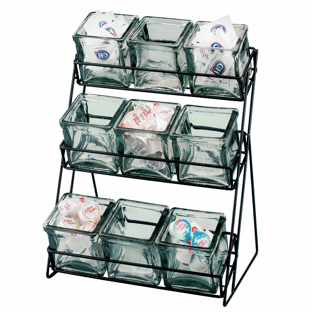 Cal-Mil 1812-13 3-Tier Wire Jar Frame w/ 9 Glass Jars, Black