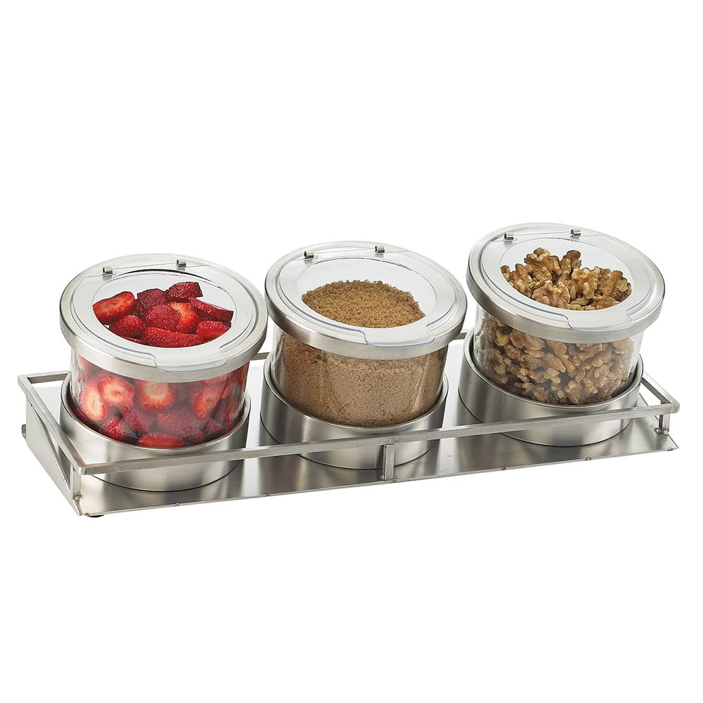 Cal-Mil 1850-4-55HL 3-Jar Rectangular Mixology Condiment Display - 16-oz Jars, Stainless Steel