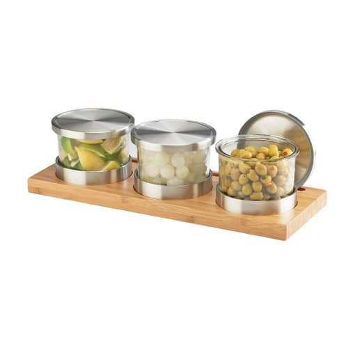 Cal-Mil 1850-4-60 3 Tier Rectangular Mixology Condiment Display - 16 oz Jars, Bamboo