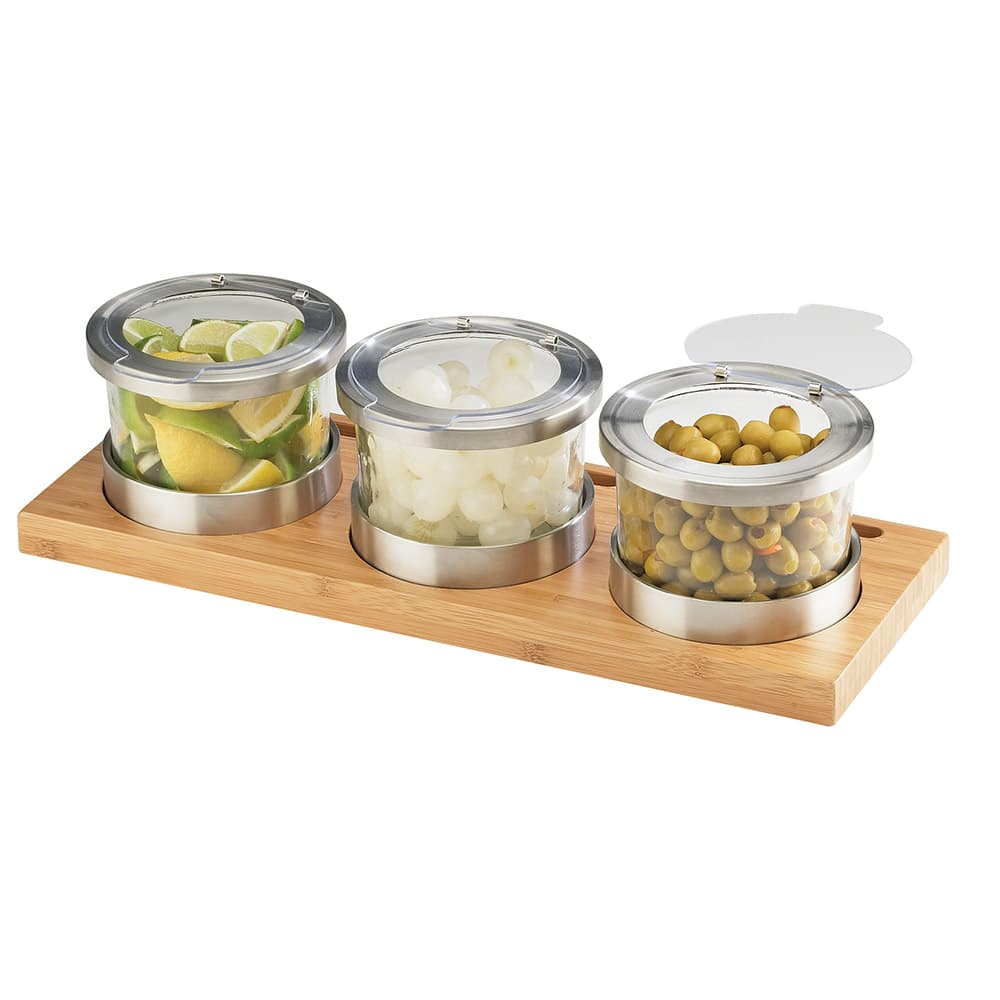 Cal-Mil 1850-4-60HL Rectangular Mixology Condiment Display - 16-oz Jars, Bamboo