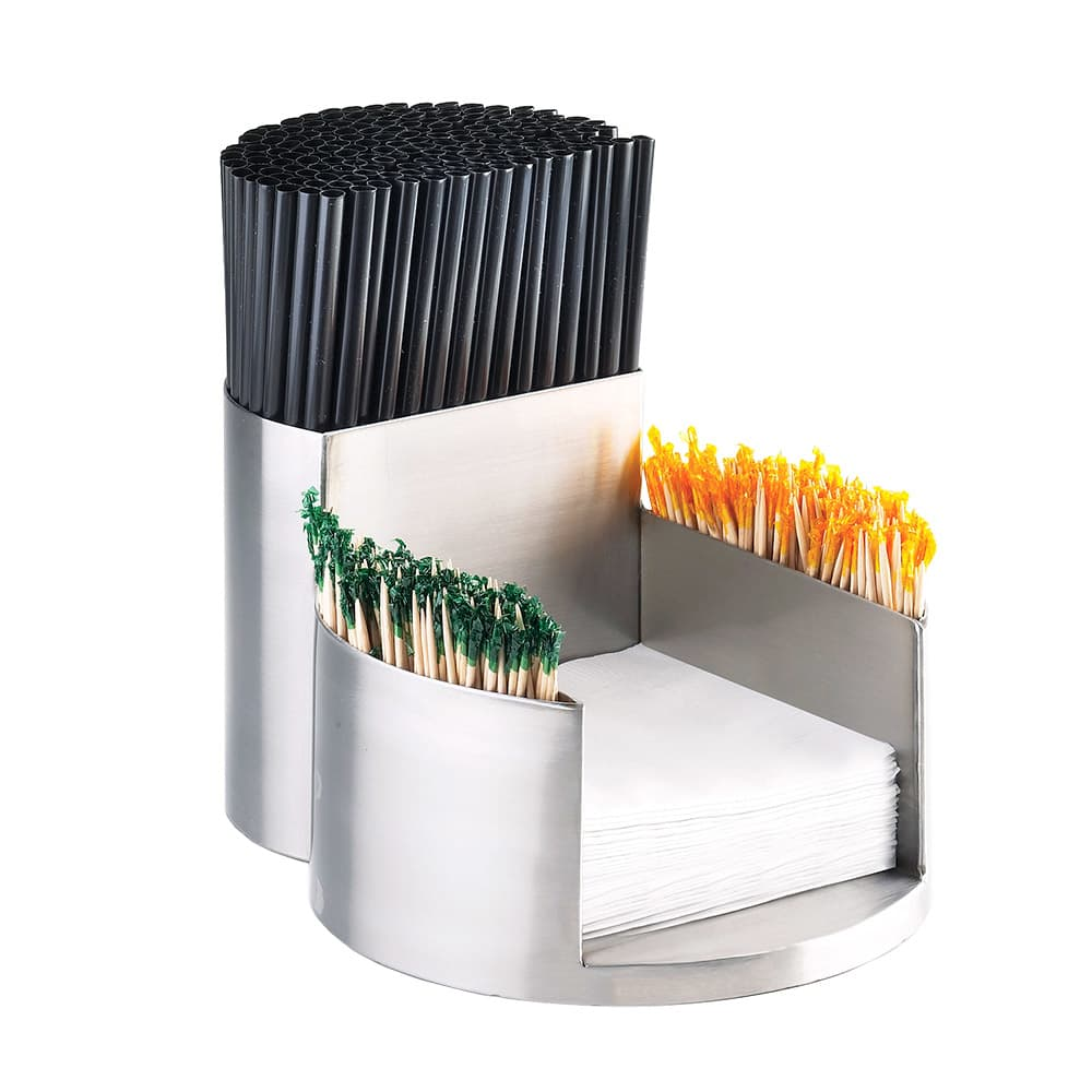 Cal-Mil 1853-55 Mixology Napkin, Tooth Pick, Straw Organizer - Stainless Steel