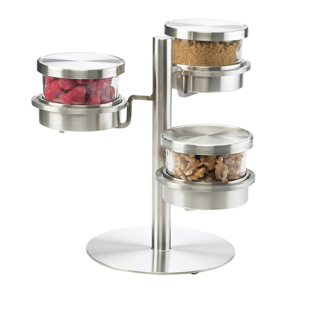 Cal-Mil 1855-4-55 3 Tier Mixology Condiment Display - 16 oz Jars, Stainless Steel