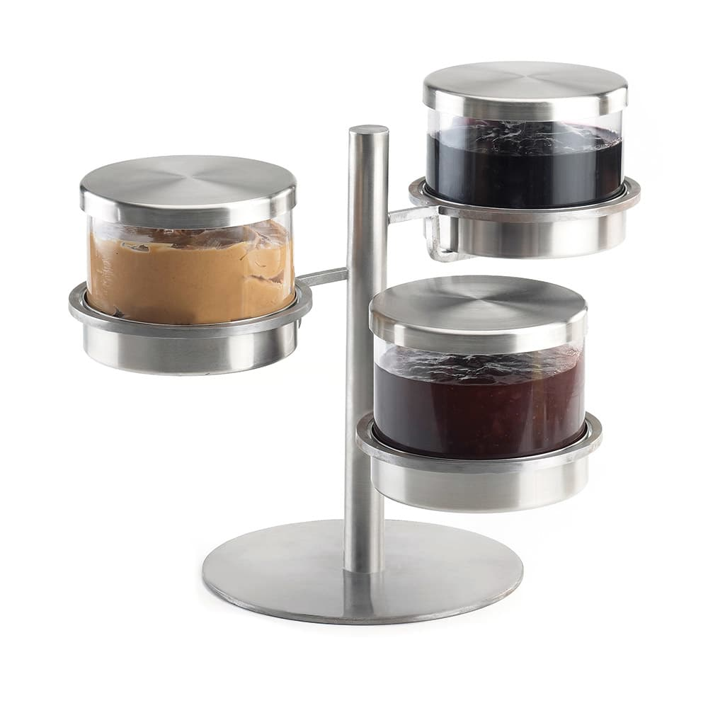 Cal-Mil 1855-5-55 3 Tier Mixology Condiment Display - 32 oz Jars, Stainless Steel