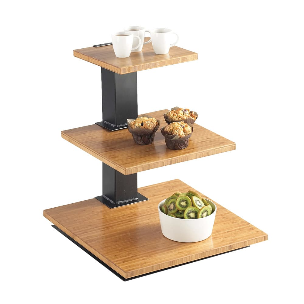 "Cal-Mil 1930-60 3 Tier Elevation Display - 18x18x20 1/4"", Black, Bamboo"