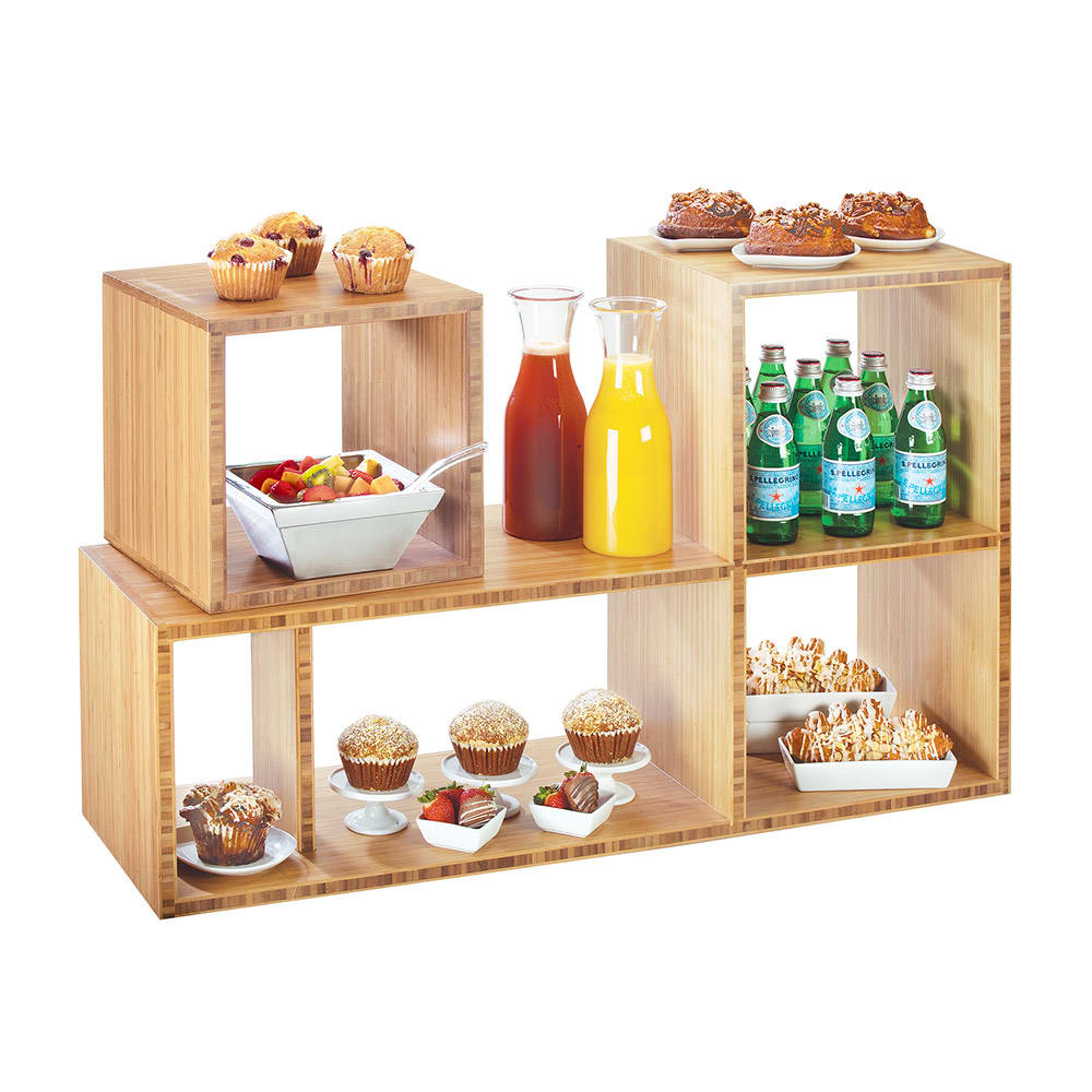 "Cal-Mil 1933-60 Display Riser Unit w/ Removable Small Shelf - 38""W x 12""D x 24""H, Bamboo"
