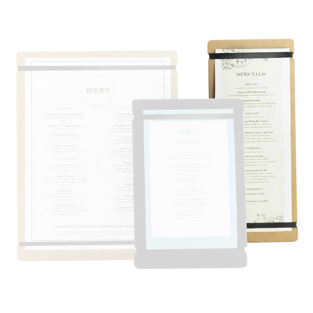 "Cal-Mil 2034-411-14 Menu Board w/Flex Bands - 4"" x 11"", Natural"