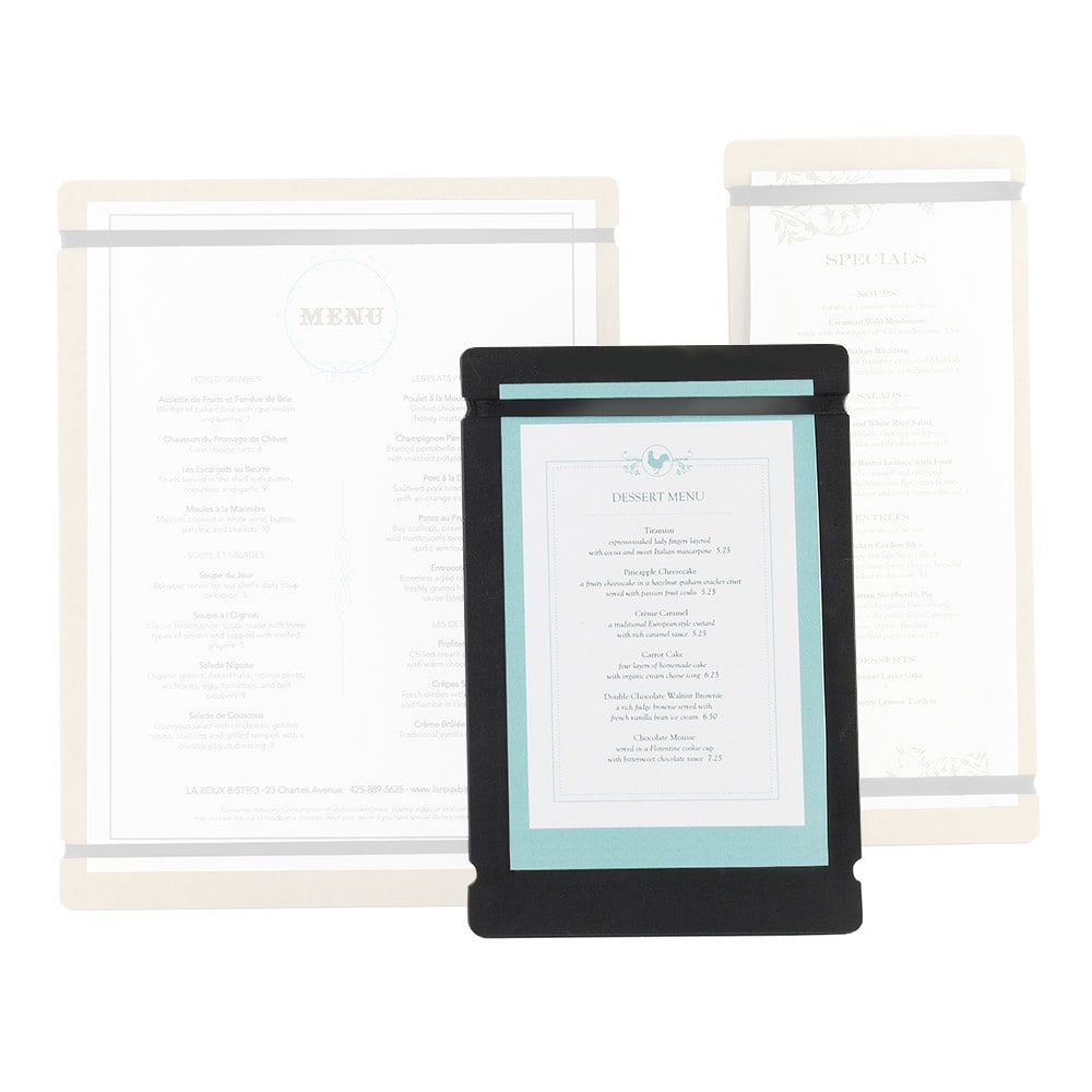 "Cal-Mil 2034-57-13 Menu Board w/Flex Bands - 5"" x 7"", Black"