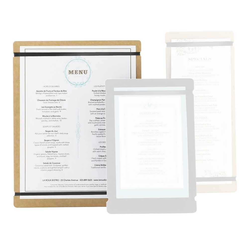 "Cal-Mil 2034-811-14 Menu Board w/Flex Bands - 8"" x 11"", Natural"