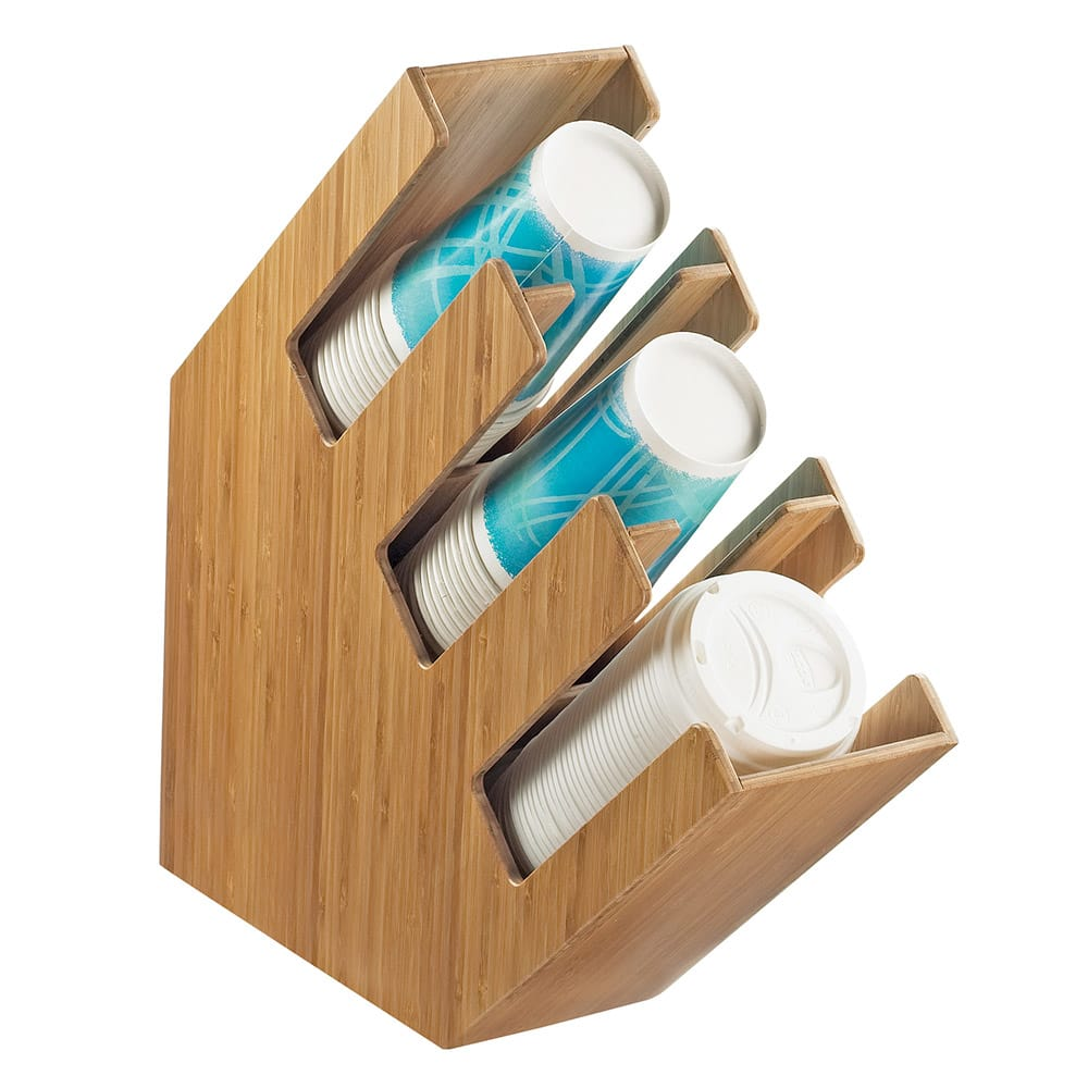 Cal-Mil 2048-3-60 3 Section Classic Lid Cup Organizer - Bamboo