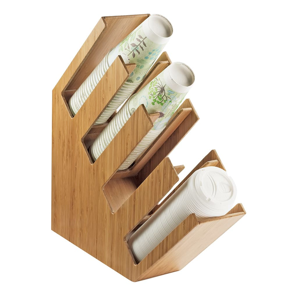 Cal-Mil 2048-4-60 4 Section Cup Lid Organizer - Bamboo