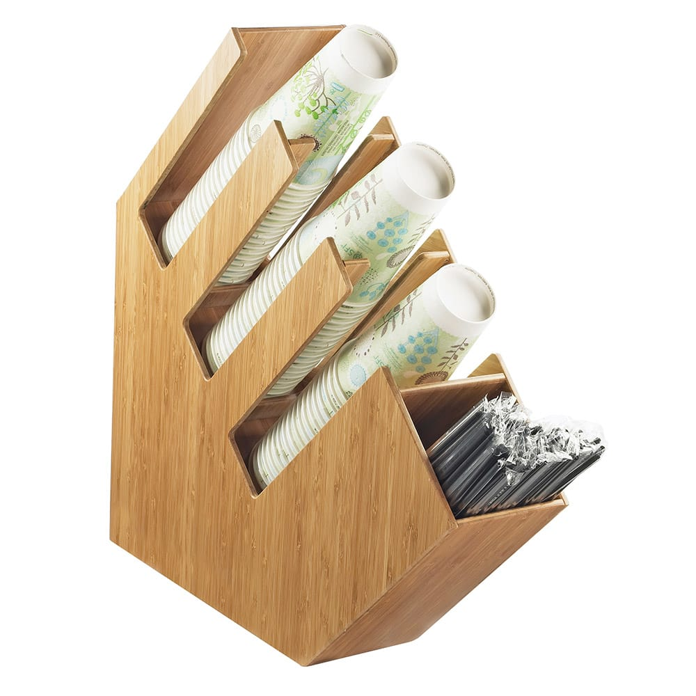 Cal-Mil 2051-60 4 Section Classic Lid Cup and Straw Organizer - Bamboo