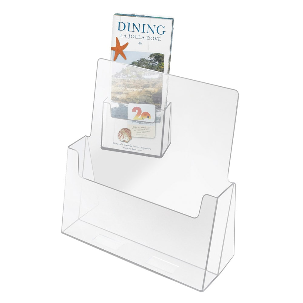"Cal-Mil 209 Tabletop Menu/Brochure Holder - 6"" x 8.5"", Acrylic"