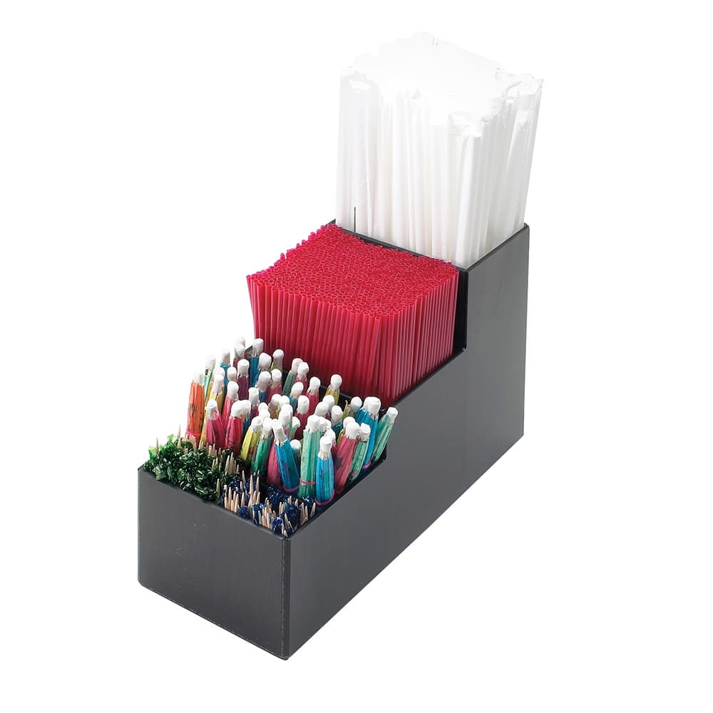 Cal-Mil 213 5 Section Straw Organizer, Black