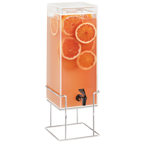 Cal-Mil 22002-3INF-49 3 gal Square Beverage Dispenser w/ Infusion Chamber - Metal Base, Chrome