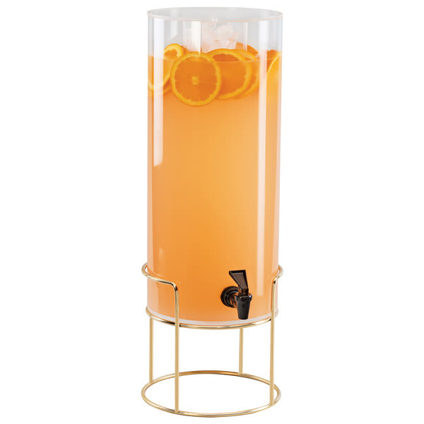 Cal-Mil 22005-3-46 3 gal Round Beverage Dispenser w/ Ice Chamber - Metal Base, Brass