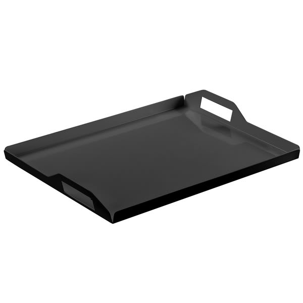 "Cal-Mil 22007-2-13 Rectangular Room Service Tray - 20"" x 15"", Metal, Black"