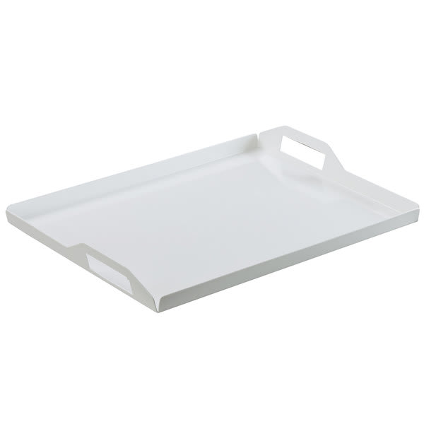 "Cal-Mil 22007-2-15 Rectangular Room Service Tray - 20"" x 15"", Metal, White"