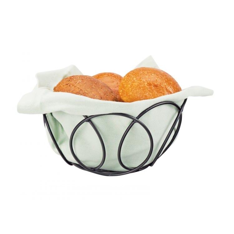 "Cal-Mil 22009-13 6.5"" Round Bread Basket - Wire, Black"