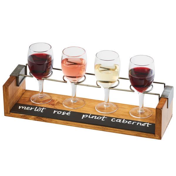 Cal-Mil 22010-99 4 Section Wine Taster Flight w/ Chalkboard - Wire Rings, Wood
