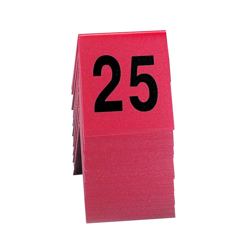 """Cal-Mil 226 Tabletop Number Tents - #1-25, 3"""" x 3"""", Red/Black"""