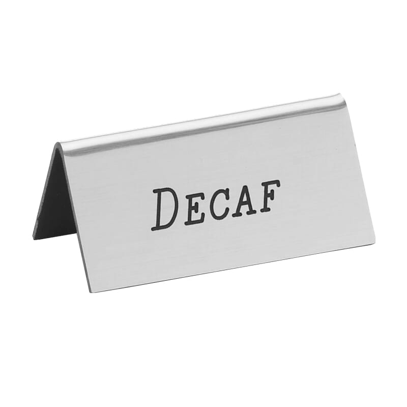 "Cal-Mil 228-2-010 ""Decaf"" Beverage Tent Sign - 3"" x 1.5"", Plastic, Silver"