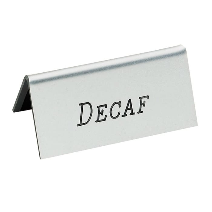 "Cal-Mil 228-2-011 ""Decaf"" Table Tent Sign - 1.5"" x 3"", Gold"