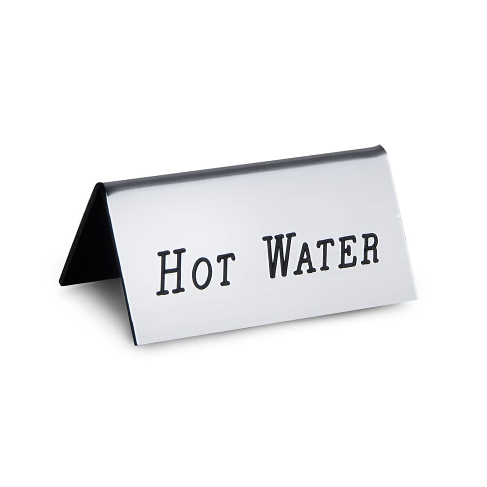 "Cal-Mil 228-3-010 ""Hot Water"" Beverage Tent Sign - 3"" x 1.5"", Plastic, Silver"