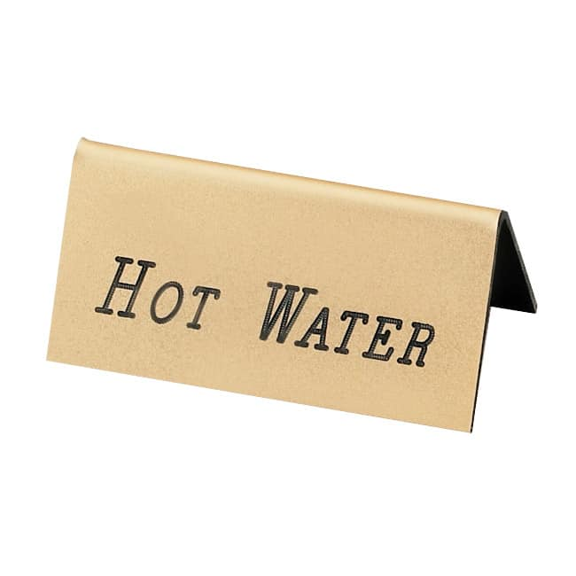"Cal-Mil 228-3-011 ""Hot Water"" Table Tent Sign - 1.5"" x 3"", Gold"