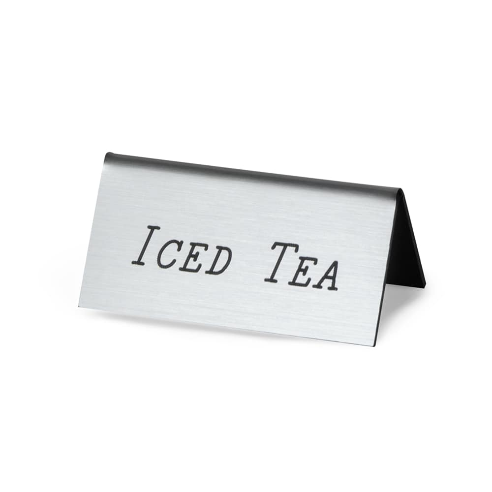 "Cal-Mil 228-5-010 ""Iced Tea"" Beverage Tent Sign - 3"" x 1.5"", Plastic, Silver"