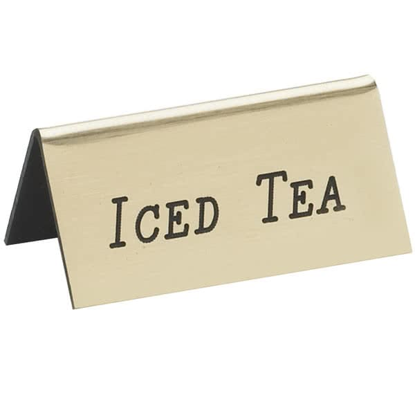 "Cal-Mil 228-5-011 ""Iced Tea"" Beverage Tent Sign - 3"" x 1.5"", Plastic, Gold"