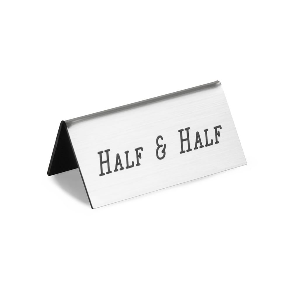 "Cal-Mil 228-8-010 ""Half & Half"" Beverage Tent Sign - 3"" x 1.5"", Plastic, Silver"